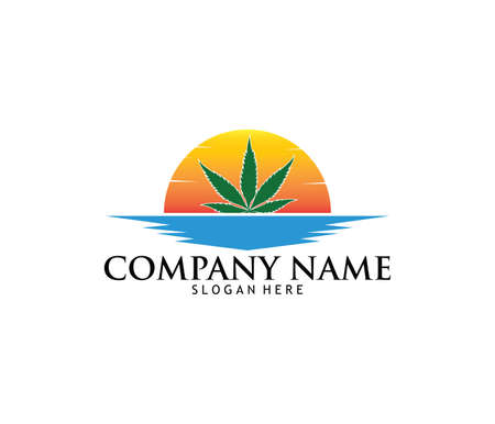 Medical marijuana cannabis drug pharmacy laboratory vector logo design template in sunset and sea design.