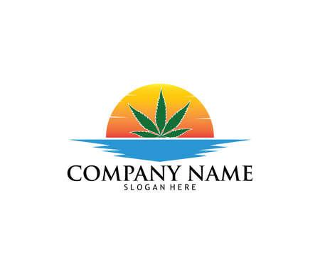 pharmacie médicale cannabis pharmacie pharmacie conception vecteur logo modèle de conception dans le coucher du soleil et la mer . conception de la mer