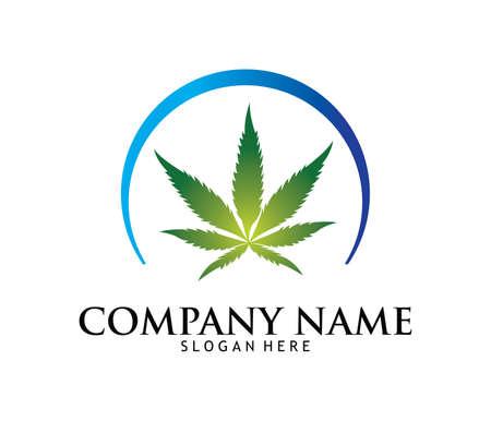 Medical marijuana cannabis drug pharmacy laboratory vector logo design template