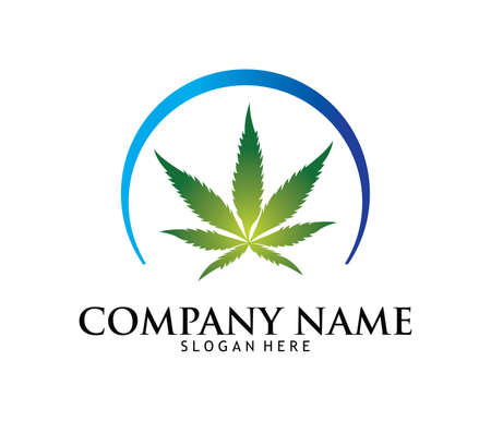 Medical marijuana cannabis drug pharmacy laboratory vector logo design template