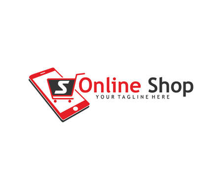 Phone with trolley online shop  logo concept design template.