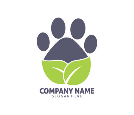 Pet clinic shop adoption vector icon design template. Stock Illustratie