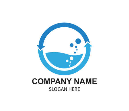 laundry and clean water source processing vector logo design template