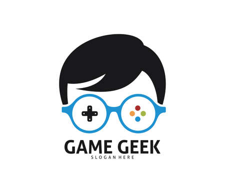 cool geek guy nerd vector logo design template