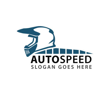 motocross helmet auto speed rider vector logo design template