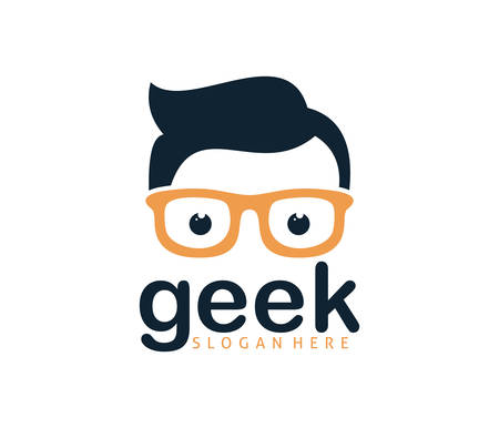 cool geek guy nerd vector logo design template