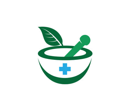herbal pharmacy medical treatment medicine clinic vector logo design template