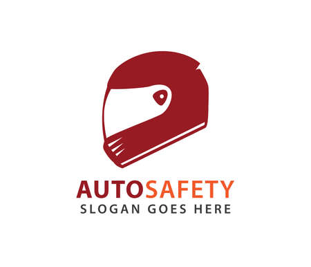 racing helmet safety automotive motorcycle vector logo design