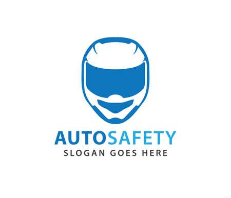 racing helmet safety automotive motorcycle vector logo design