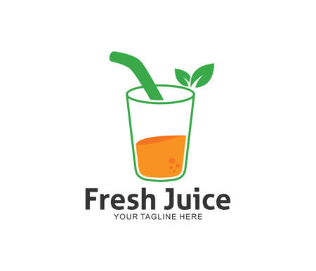 fresh juice drink lemonade vector logo design template