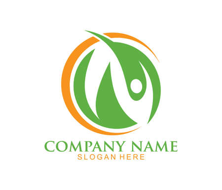 nature herbal medicine healthy people wellness vector logo design template