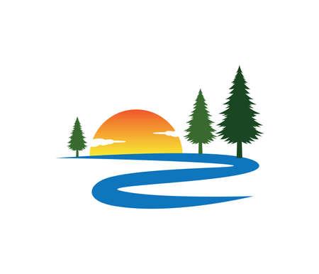 Sonnenuntergang Fluss Straße Kiefer Baum Vektor Logo Design-Vorlage