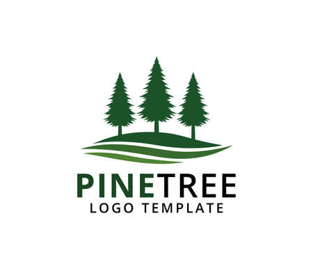 pine tree hotel resort woods golf course park vector logo design template