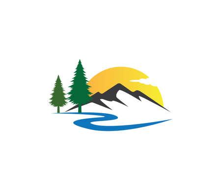 plantilla de diseño de logotipo de vector de árbol de pino de carretera de montaña puesta de sol