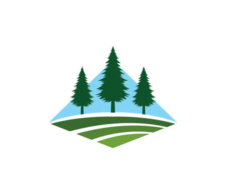 pine tree hotel resort woods golf course park vector logo design template