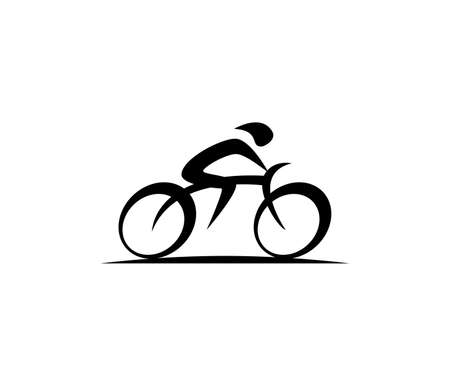 abstract bicycle icon or vector logo design template Illustration