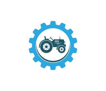 tractor agriculture farm field tool vector icon logo design template