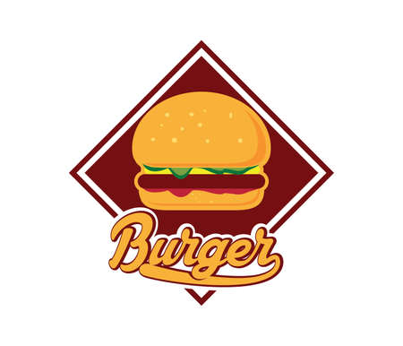 burger vector for restaurant or street food cafe icon logo design template