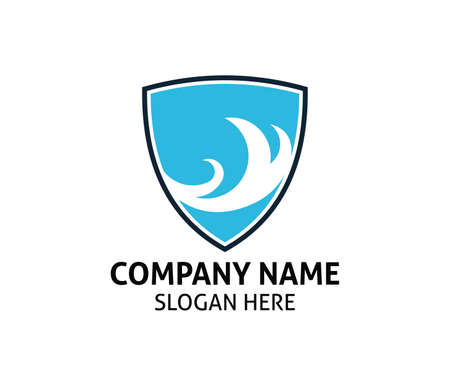 blue ocean wave shield vector logo icon design template