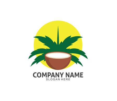 coconut drink beverage vector icon logo design template Иллюстрация