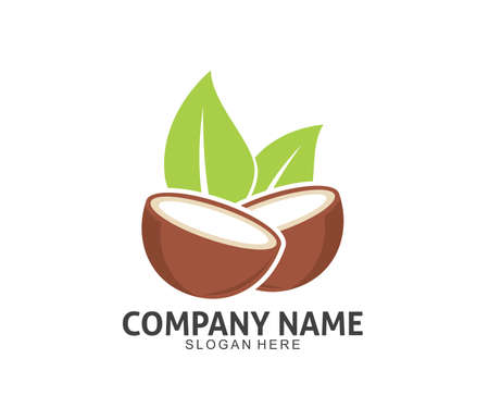 coconut drink beverage vector icon logo design template Çizim