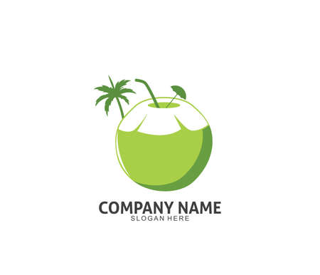 coconut drink beverage vector icon logo design template Ilustração