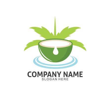 coconut drink beverage vector icon logo design template Standard-Bild - 103255900