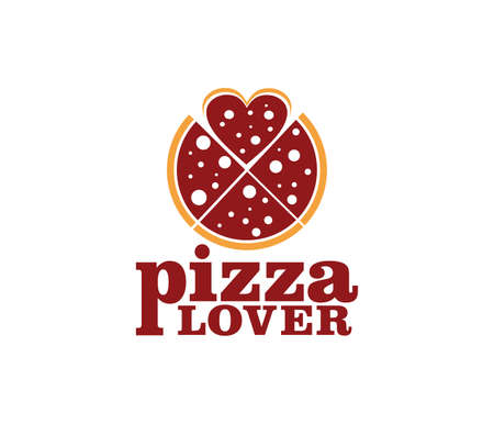 pizza vector icon logo design for restaurant and cafe bistro Illustration