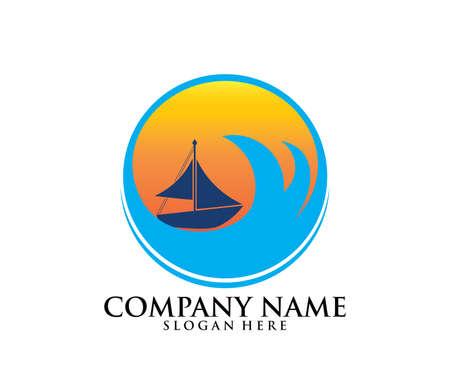 sailing ship boat vector logo icon design template
