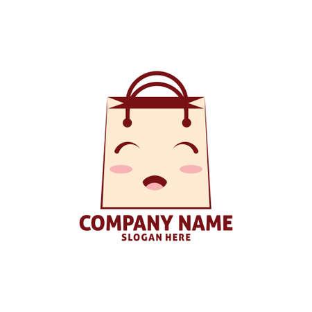 cute happy baby with bag shop vector icon logo design template