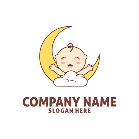 happy baby sleep in cloud with moon shop vector icon logo design template Illustration