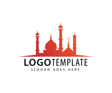 mosque with tower dome vector icon logo design template Vettoriali