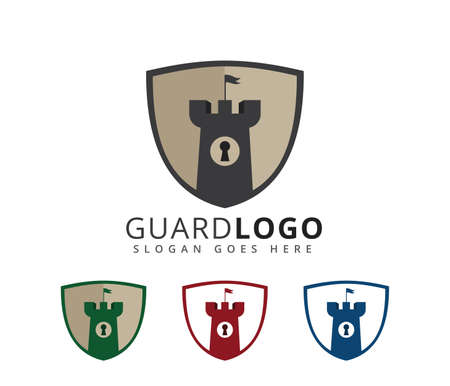 castle fortress stronghold security vector icon logo design template Illustration