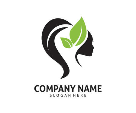 women beauty healthy natural treatment care vector icon logo design template Illustration