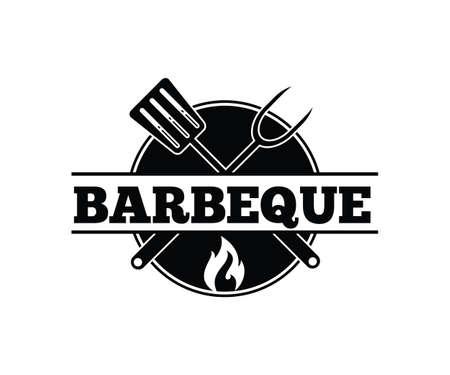 Modèle de conception de logo d'emblème d'icône de vecteur de barbecue barbecue