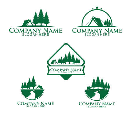 jungle woods camping ground vector icon logo design template
