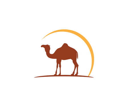 camel and sun vector icon logo design template Illustration