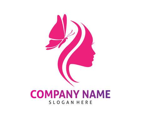 Plantilla de diseño de logotipo de icono de vector de belleza de mujer de mariposa Foto de archivo - 103325188
