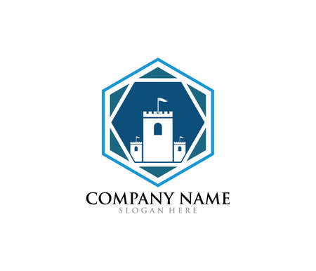 castle fortress stronghold vector icon logo design template