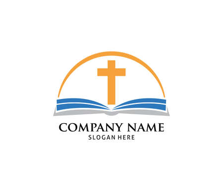 christian holy book vector icon logo design template
