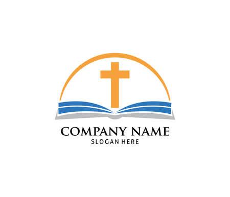 Plantilla de diseño de logotipo de icono de vector de libro sagrado cristiano
