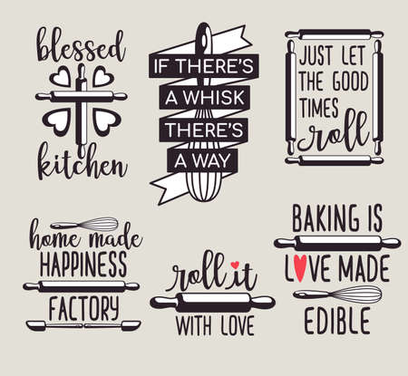 fun cute baking quote printable vector design template set