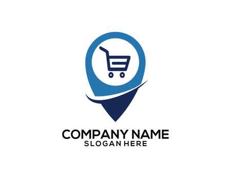 Shopping mall GPS location pointer vector icon logo design template