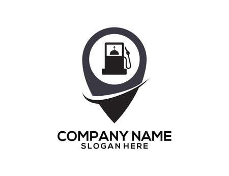 Gasoline station GPS location pointer vector icon logo design template Ilustração
