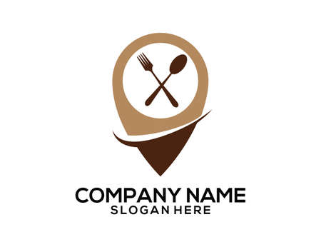Restaurant area GPS location pointer vector icon logo design template Иллюстрация