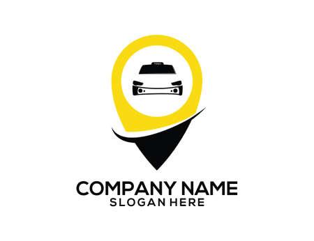 Taxi area GPS location pointer vector icon logo design templatec Vectores
