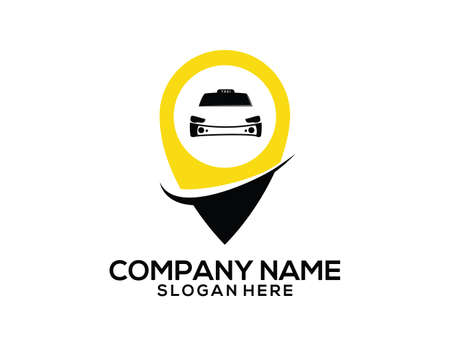 Taxi area GPS location pointer vector icon logo design templatec Vettoriali