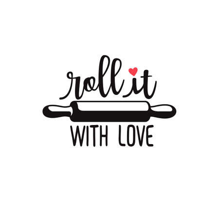roll it with love fun cute baking quote printable vector design template 免版税图像 - 105525463