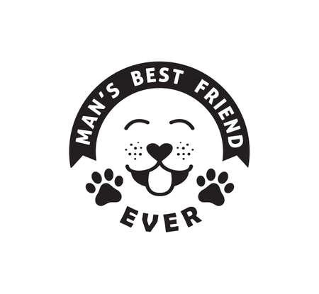 el mejor amigo del hombre perro divertido mascota cita cartel tipografía plantilla de diseño Ilustración de vector