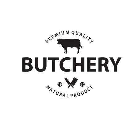 Natural farm meat butchery vector brand label identity design template Vettoriali